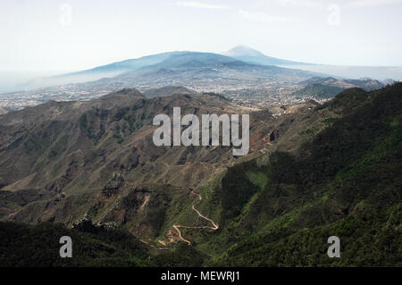 View towards Mount Teide from Pico Ingles, Anaga Mountains, Tenerife, Canary Islands - Stock Image