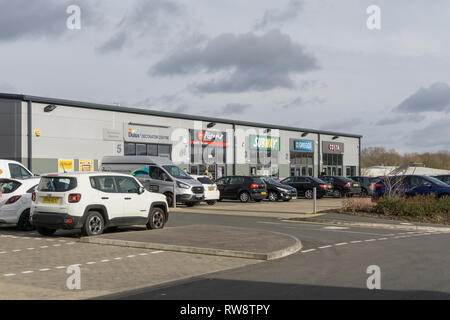 A line of retail units, mostly fast food, Brackmills Trade Park, Northampton, UK - Stock Image
