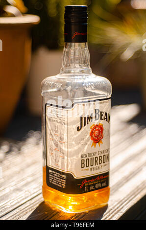 Opened Bottle of Jim Beam Bourbon Whiskey, Jim Beam is made by Beam Suntory in Kentucky, the United States since 1795. - Stock Image