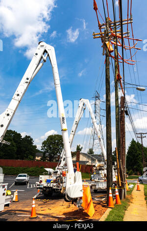 HICKORY, NC, USA-15 AUGUST 2018: Boring equipment lined up to install utility poles. - Stock Image