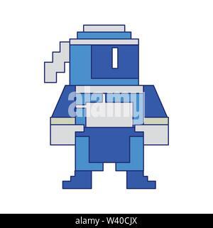 Videogame pixelated ninja character symbol blue lines - Stock Image