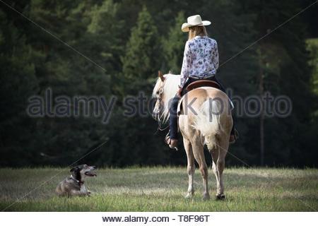 A cowgirl rides through heartland - Stock Image