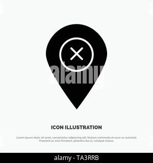 Location, Map, Navigation, Pin solid Glyph Icon vector - Stock Image