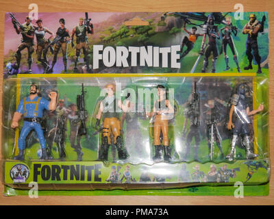 Action figures depicting characters from the game Fortnite. - Stock Image