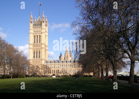 Victoria Tower Houses of Parliament Westminster London - Stock Image