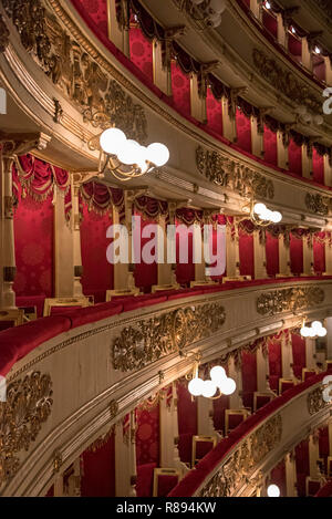 Vertical view inside La Scala in Milan, Italy. - Stock Image