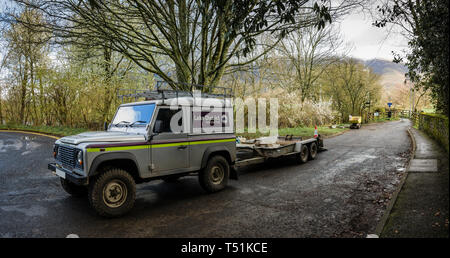 National Park works team at Portinscale, Cumbria. - Stock Image
