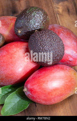 New harvest of healthy fruits and vegetables, tropical organic ripe red mango and hass avocado ready to eat close up - Stock Image