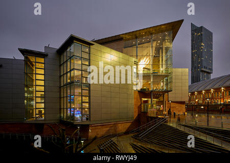The Bridgewater Hall home to The Hallé orchestra, and is the primary concert venue for the BBC Philharmonic Orchestra in Manchester city centre - Stock Image