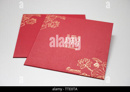 red envelope used in chinese weddings - Stock Image