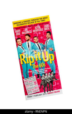 Promotional flyer for the 2019 production of Rip it Up The 60s at the Garrick Theatre.  Featuring dance and music from the 1960s. - Stock Image
