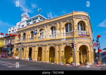 The Chartered bank, in Sino-Portuguese style, houses Peranakannitat Museum, old town, Phuket town, Thailand - Stock Image