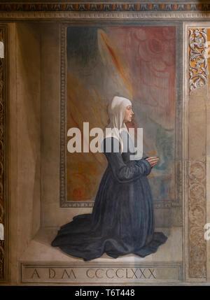 Portrait of the Donor, Nera Corsi Sassetti, Frescoes on the Life of St Francis, by Domenico Ghirlandaio, 1483-1485, Capella Sassetti, Sassetti Chapel, - Stock Image