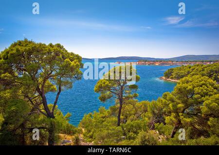 Island of Krapanj archipelago view, Sibenik archipelago of Croatia - Stock Image
