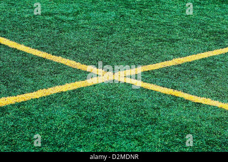 x line on soccer field - Stock Image