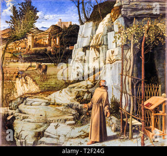 Giovanni Bellini, Saint Francis in the Desert, painting, c. 1480 - Stock Image