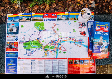 London, UK - Nov 15, 2018: Map of Central London tours sponsored by a London Original Tour company - Stock Image