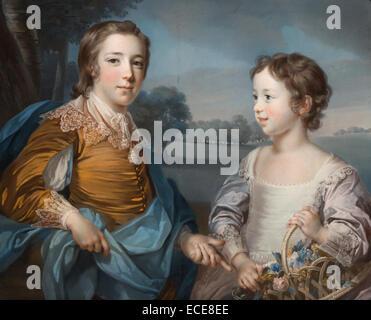 Portrait of Joseph (1741-1786) and his Brother John Gulston (1750-1764); Francis Cotes, British, 1726 - 1770; 1754; - Stock Image