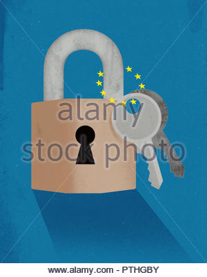 Two keys attached to padlock with European Union flag stars - Stock Image