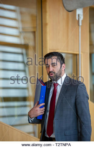 Edinburgh, UK. 4th April, 2019.  Justice Secretary Humza Yousaf arriving for First Ministers Questions in the Scottish Parliament. Credit: Roger Gaisford/Alamy Live News - Stock Image