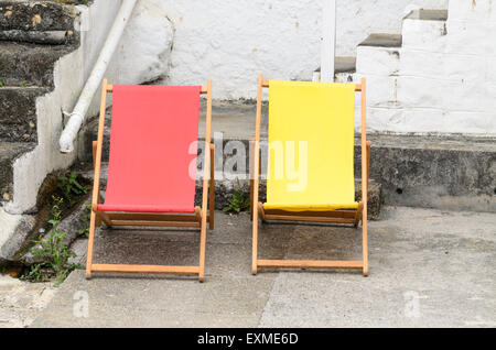 Two empty deck chairs. - Stock Image