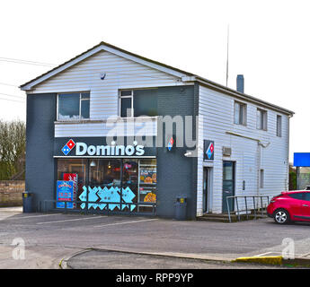 The local store of Domino's Pizza, a  branch of the national / international fast food delivery company.Bridgend,S.Wales UK - Stock Image