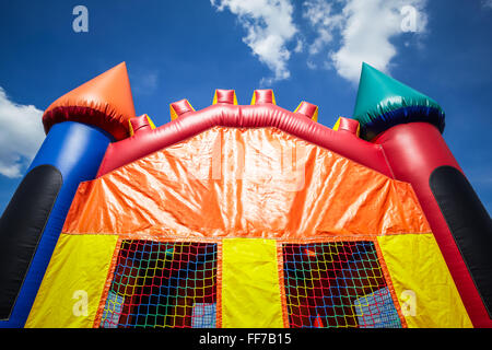 Children's inflatable bounce house castle upper half. - Stock Image