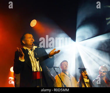 Manchester, UK. 3rd November, 2018. Cast from the Procuder perform at the Manchester Lights Switch on Credit: Della Batchelor/Alamy Live News - Stock Image