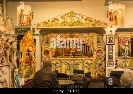 Interior of the Amersham Fair Organ Museum on an open day, Buckinghamshire, UK, showing some of the historic instruments in the collection - Stock Image