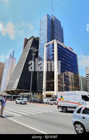 The FIESP building in Paulista ave. Sao Paulo. Brazil - Stock Image