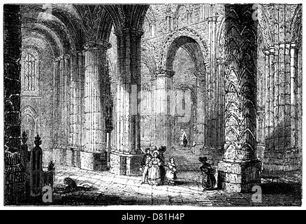 The interior of Durham Cathedral, from an 1845 engraving. No chairs!  Some of the pillars are over twenty feet in - Stock Image