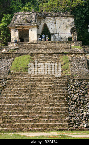 Temple XII or the Skull Temple, Palenque Archeological Site, Chiapas State, Mexico. - Stock Image