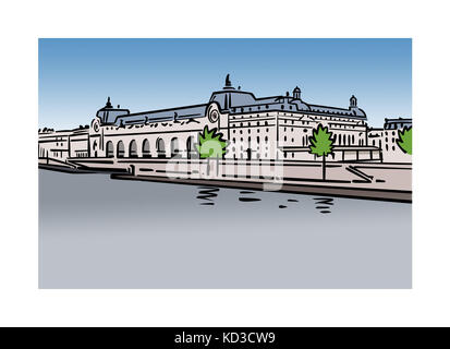 Illustration of Musee d'Orsay in Paris, France - Stock Image