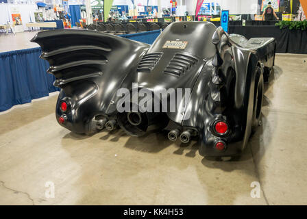 Rear view of Batmobile on display at the Canadian {et Expo in Toronto Ontario Canada - Stock Image