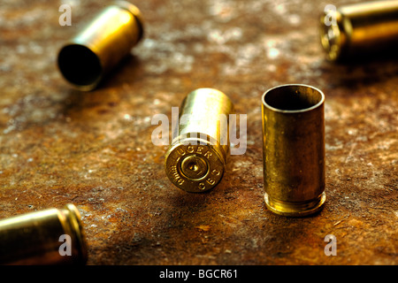 9mm cartridge casings - Stock Image