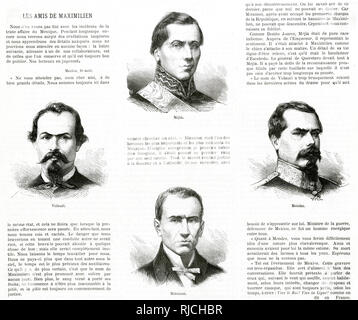 Portraits of the friends and collaborators of the Emperor Maximilian of Mexico (left to right). Vidauri, the Minister of War. Benito Juaraez Mejia, Miramon, and Mendez. The accompanying text ranks and praises their various talents, especially Miramon, and outlines their relationship to the Emperor. - Stock Image