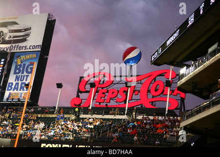 Neon Pepsi sign over the Pepsi Porch section of Citi Field at dusk, Queens, NY, USA - Stock Image