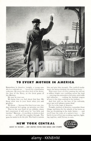 1943 U.S. Magazine New York Central Railway Advert - Stock Image