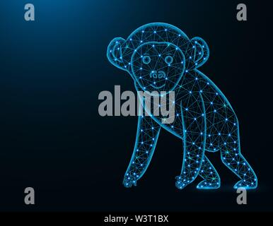 A monkey low poly model, African animal abstract graphics, primate polygonal wireframe vector illustration on dark blue background - Stock Image