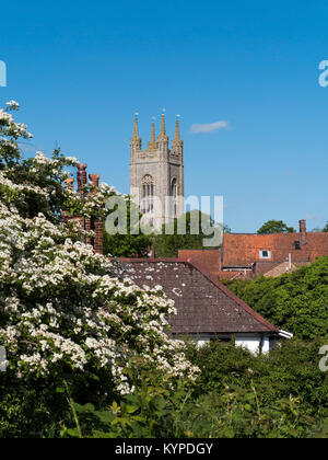 The picturesque Market Town of Bungay in the Waveney Valley, with the tower of St Mary's Church, Bungay, Suffolk, - Stock Image