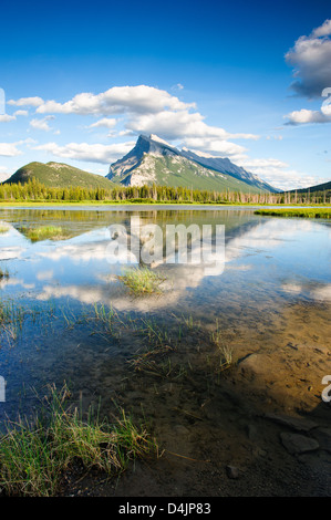 Mount Rundle with blue sky reflecting in Vermilion Lakes at Banff national park, Alberta Canada - Stock Image