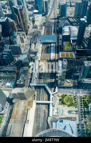 Aerial view of Union Station and surrounding area from the viewing platform of the CN Tower, downtown Toronto. - Stock Image