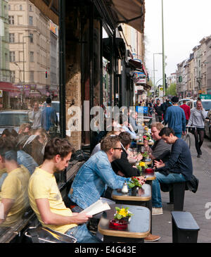 People at a cafe bar restaurant in Berlin Germany - Stock Image