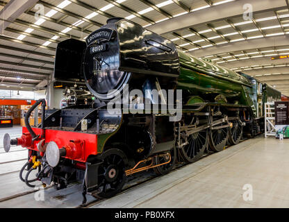 Ex LNER class A3 express passenger steam locomotive Flying Scotsman  on display at Locomotion National Railway Museum Shildon - Stock Image