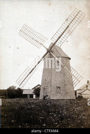 Windmill, Shelter Island, NY, August 1888 - Stock Image