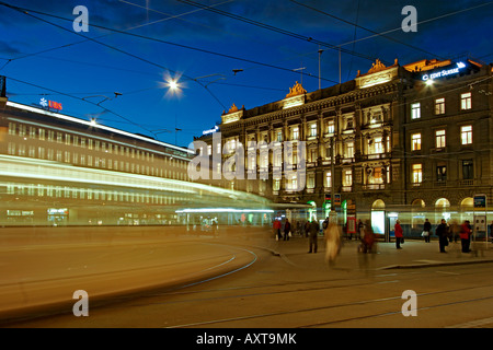 Switzerland Zurich credit suisse bank UBS Bahnhofstrasse Paradeplatz Tram - Stock Image