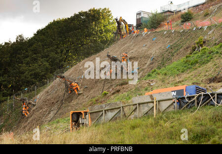 Construction engineers in harnesses fixed by long cables work on a cliff face at Scarborough - Stock Image