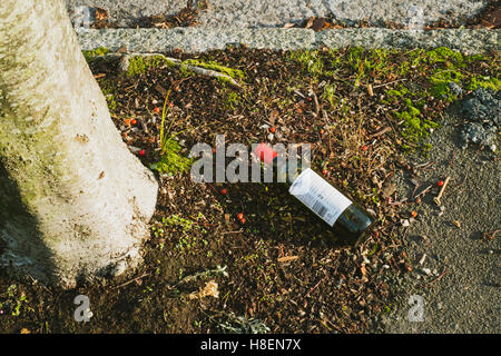 Empty bottle of red wine left on the pavement in a street in Falmouth, Cornwall 11th November 2016 - Stock Image