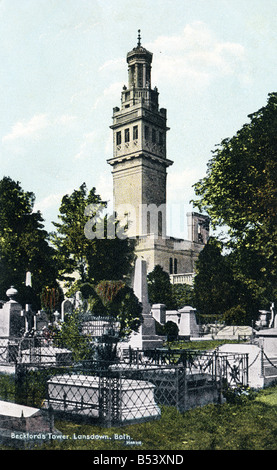 Old vintage picture postcard  of Beckford's Tower Lansdown Bath Somerset EDITORIAL USE ONLY - Stock Image