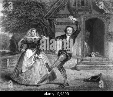 Act I Scene I Christopher Sly and the hostess - Stock Image